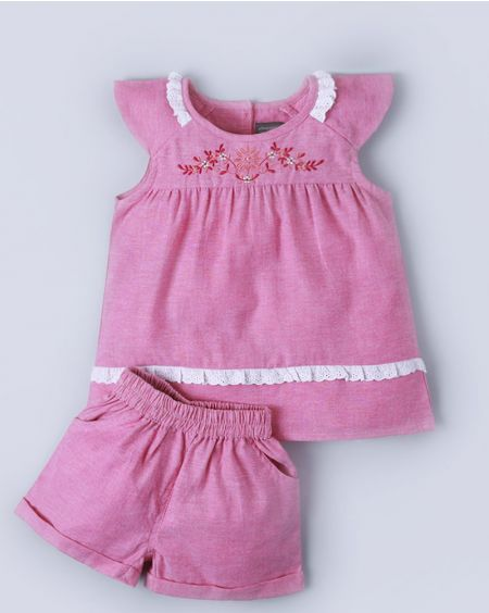 Embroidered Pink Set