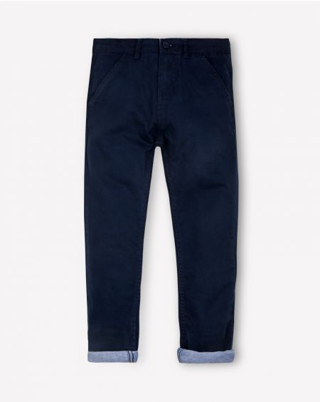Blue Twill Pants with Turnups